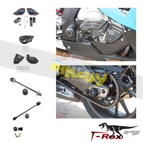 티렉스 프레임 슬라이더 BMW S1000RR HP4(13-14) No Cut Frame Front & Rear Axle Sliders Case Covers Spools GB레이싱