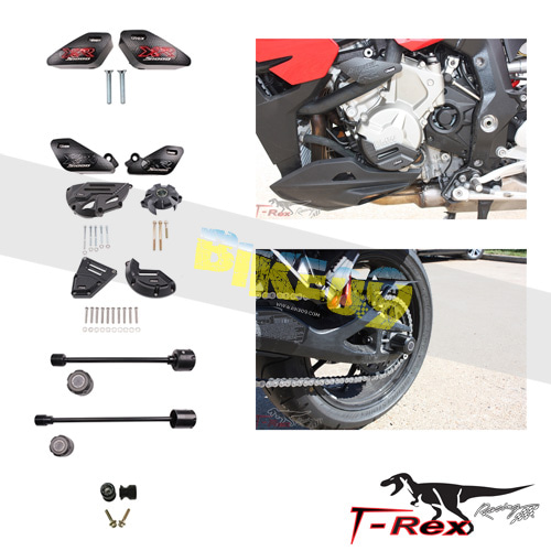 티렉스 프레임 슬라이더 BMW S1000XR(15-17) No Cut Frame Front & Rear Axle Sliders Case Covers Spools GB레이싱