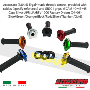 Accossato 아코사토 Ergal-made 스로틀 컨트롤, provided ØCAM 40-43-45 Caps Silver 아프릴리아>RSV 1000 Factory Dream (04-08) 레이싱 브램보 브레이크 오토바이