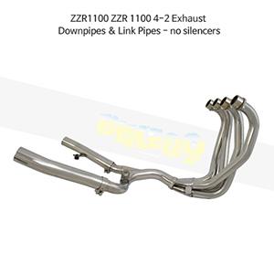 KAWASAKI 가와사키 ZZR1100 4-2 Exhaust Downpipes & Link Pipes - no silencers 메니폴더 머플러 중통