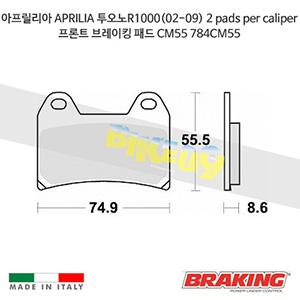 아프릴리아 APRILIA 투오노R1000(02-09) 2 pads per caliper 프론트 브레이킹 패드 CM55 784CM55