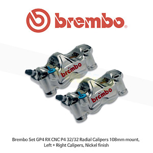브렘보 세트 GP4 RX CNC P4 32/32 래디얼 캘리퍼 니켈 마감, 108mm 마운트, 좌우양측