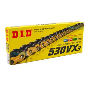 DID 530 VX3 골드 & 블랙 체인, 120 링크, 530 사이즈 - 오토바이 금장 체인 401567120