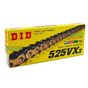 DID 525 VX3 골드 & 블랙 체인, 120 링크, 525 사이즈 - 오토바이 금장 체인 401547120