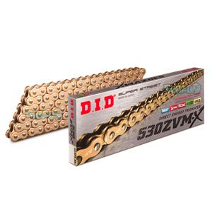 DID 530 ZVMX 골드 & 골드 체인, 120 링크, 530 사이즈 - 오토바이 금장 체인 401584120