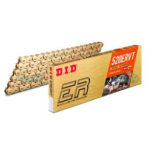 DID 520 ERVT 골드 & 골드 체인, 120 링크, 520 사이즈, 엔류로 레이싱 - 오토바이 금장 체인 401541120