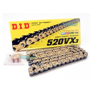 DID 520 VX3 체인 골드& 블랙, 120 링크, 520 사이즈 - 오토바이 금장 체인 401540120