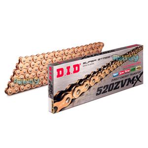 DID 520 ZVMX 골드 & 골드 체인, 120 링크, 520 사이즈 - 오토바이 금장 체인 401582120