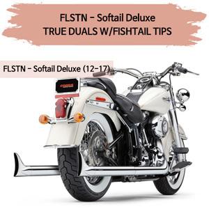 (12-17) TRUE DUALS W/FISHTAIL TIPS 풀시스템 할리 머플러 코브라 소프테일 디럭스