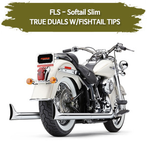 12-17 (W/FISHTAIL TIPS) TRUE DUALS 풀시스템 할리 코브라 소프테일 슬림 머플러