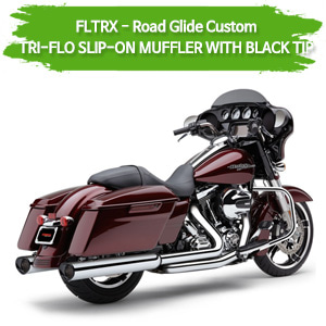 (11-13,15-16) WITH BLACK TIP TRI-FLO MUFFLER 슬립온 할리 머플러 코브라 베거스 로드 글라이드 커스텀