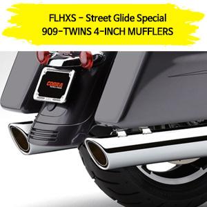 (14-16) 스트리트 글라이드 스페셜 909-TWINS 4-INCH 슬립온 할리 머플러 코브라 베거스