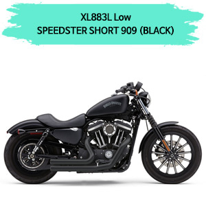 (07-13) 블랙컬러 스피드스터 SHORT 909 풀시스템 할리 머플러 스포스터 XL883L 로우 코브라