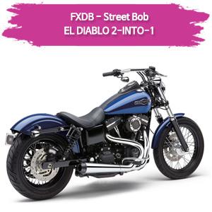 (06-11) EL DIABLO 2-INTO-1 풀시스템 할리 다이나 스트리트 밥 머플러 코브라