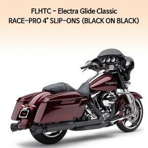 """(95-13) 레이스프로 4"""" (BLACK ON BLACK) 슬립온 할리 머플러 코브라 베거스 일렉트라 글라이드 클래식"""
