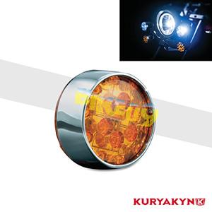 쿠리야킨 할리 튜닝 부품 다이나 (01-17) L.E.D. Front Turn Signal Inserts, Bullet Style with Chrome Bezels & Amber Lenses, Dual Circuit 테일라이트/LED 테일라이트 깜빡이 5442
