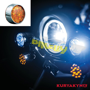 쿠리야킨 할리 튜닝 부품 스포스터 XL (02-19) L.E.D. Front Turn Signal Inserts, Bullet Style with Chrome Bezels & Amber Lenses, Dual Circuit 테일라이트/LED 테일라이트 깜빡이 5442