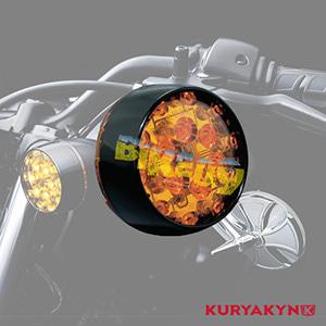 쿠리야킨 할리 튜닝 부품 다이나 (01-17) L.E.D. Front Turn Signal Inserts, Bullet Style with Gloss Black Bezels & Amber Lenses, Dual Circuit 테일라이트/LED 테일라이트 깜빡이 5455