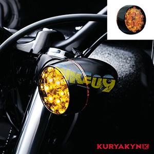 쿠리야킨 할리 튜닝 부품 스포스터 XL (02-19) L.E.D. Front Turn Signal Inserts, Amber Lenses & Bullet Style with Gloss Black Bezels, Dual Circuit 테일라이트/LED 테일라이트 깜빡이 5455