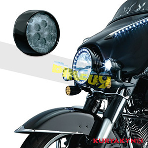 쿠리야킨 할리 튜닝 부품 스포스터 XL (02-19) L.E.D. Front Turn Signal Inserts, Smoke Lenses & Bullet Style with Gloss Black Bezels , Dual Circuit 테일라이트/LED 테일라이트 깜빡이 5456