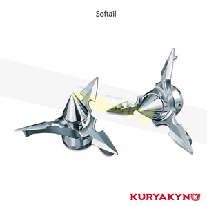 쿠리야킨 할리 튜닝 부품 소프테일 (84-06) Spun Blade Axle Caps, Pointed, Chrome 프론트 리어 캘리퍼 커버 1232