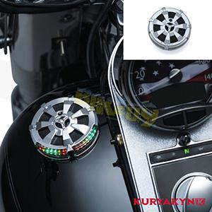 쿠리야킨 할리 튜닝 부품 다이나 (91-17) Alley Cat L.E.D. Fuel & Battery Gauge, Chrome 탱크 악세사리 7381