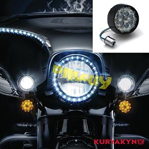 쿠리야킨 할리 튜닝 부품 스포스터 XL (02-19) ECE Bullet Style Amber L.E.D. Turn Signal Inserts, Smoke Lens, Black LED 테일라이트 깜빡이 5475