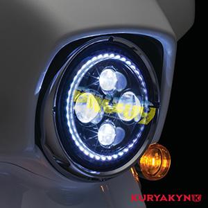"""쿠리야킨 할리 튜닝 부품 투어링 (94-19) Orbit Vision 7"""" L.E.D. Headlight with White Halo, Black 헤드라이트 안개등 2460"""