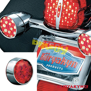 쿠리야킨 할리 튜닝 부품 다이나 (01-17) L.E.D. Rear Turn Signal Inserts, Bullet Style with Chrome Bezels & Red Lenses, Chrome LED 테일라이트 깜빡이 5446
