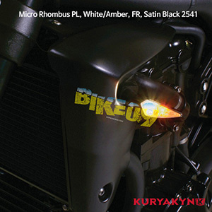 쿠리야킨 할리 튜닝 부품 할리범용 Micro Rhombus PL, White/Amber, FR, Satin Black 커스텀 깜빡이 2541