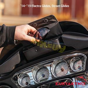 쿠리야킨 할리 튜닝 부품 투어링 (14-19) Batwing Fairing Pouch Bag, Black 가방 핸들백 5261