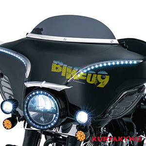 "쿠리야킨 할리 튜닝 부품 Trikie Tri Glide L.E.D. Halo Trim Rings 7"" HEADLAMP, Gloss Black 헤드라이트 안개등 6918"
