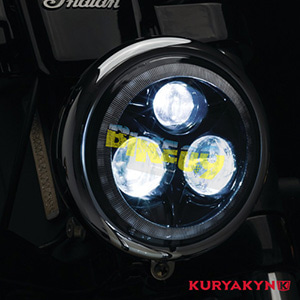 "쿠리야킨 할리 튜닝 부품 브이로드 (02-11) Orbit Prism™ 5-3/4"" L.E.D. Headlight with Bluetooth Controlled Multi-Color Halo, Black 헤드라이트 안개등 2463"