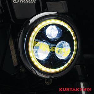 """쿠리야킨 할리 튜닝 부품 스트리트 (15-19) Orbit Prism™ 5-3/4"""" L.E.D. Headlight with Bluetooth Controlled Multi-Color Halo, Black 헤드라이트 안개등 2463"""