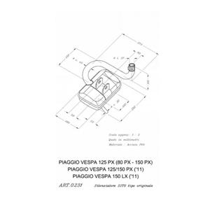 레오빈스 베스파125 PX 풀 시스템 시토 스틸 매트 오토바이 머플러