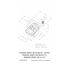 레오빈스 베스파80 PX 풀 시스템 시토 스틸 매트 오토바이 머플러