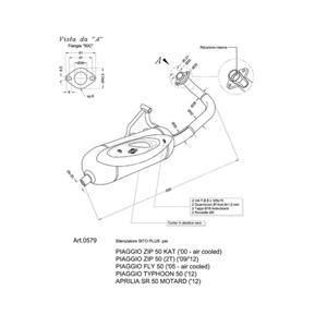 레오빈스 아프릴리아 SR50 모타드 2T 풀 시스템 시토 시토플러스 스틸 매트 (12+) 오토바이 머플러