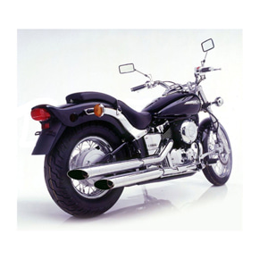 레오빈스 야마하 XVS650 드래그스타 클래식 슬립온 실버테일 크롬 스틸 (98-03) 오토바이 머플러