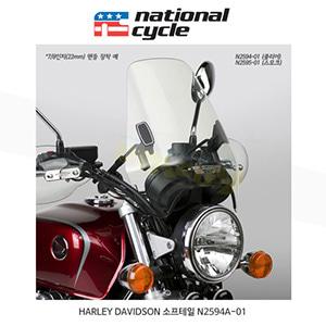 네셔널싸이클 할리데이비슨 HARLEY DAVIDSON 소프테일 디플렉터 스크린 DX 1인치(25mm) 핸들용 윈드스크린 - 클리어 N2594A-01