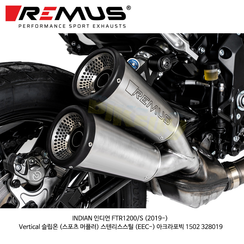 레무스 코리아 머플러 INDIAN 인디언 FTR1200/S (2019-) Vertical 슬립온 (스포츠 머플러) 스텐리스스틸 (EEC-) 아크라포빅 1502 328019