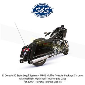 S&S 에스엔에스 머플러 엘도라도 50 State Legal 시스템, 할리데이비슨 투어링(09-16) 모델용 Mk45 머플러/헤더 패키지 크롬색상 하이라이트 처리된 스러스터 엔드캡