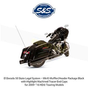 S&S 에스엔에스 머플러 엘도라도 50 State Legal 시스템, 할리데이비슨 투어링(09-16) 모델용 Mk45 머플러/헤더 패키지 블랙색상 하이라이트 처리된 트레이서 엔드캡