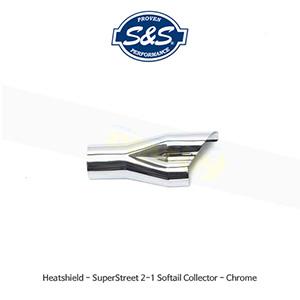 S&S 에스엔에스 머플러 히트실드 슈퍼스트리트 2-1 할리데이비슨 소프테일 모델용 콜렉터 - 크롬색상