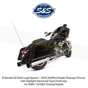 S&S 에스엔에스 머플러 엘도라도 50 State Legal 시스템, 할리데이비슨 투어링(09-16) 모델용 Mk45 머플러/헤더 패키지 크롬색상 하이라이트 처리된 트레이서 엔드캡