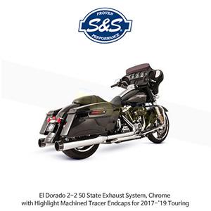 S&S 에스엔에스 머플러 엘도라도 2-2 50 State 머플러 시스템, 할리데이비슨 투어링(17-19) 모델용 크롬색상 하이라이트 처리된 트레이서 엔드캡