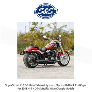 S&S 에스엔에스 머플러 슈퍼스트리트 2-1 50 State 머플러 시스템, 할리데이비슨 소프테일(18-19) 와이드 섀시 모델용 블랙/블랙 엔드캡