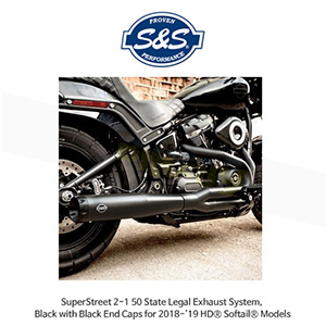 S&S 에스엔에스 머플러 슈퍼스트리트 2-1 50 State Legal 머플러 시스템, 할리데이비슨 소프테일(18-19) 모델용 블랙/블랙색상 엔드캡