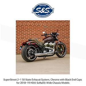 S&S 에스엔에스 머플러 슈퍼스트리트 2-1 50 State 머플러 시스템, 할리데이비슨 소프테일(18-19) 와이드 섀시 모델용 크롬/블랙 엔드캡