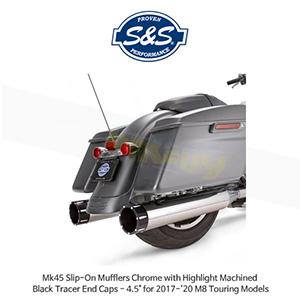 "S&S 에스엔에스 머플러 Mk45 슬립온 할리데이비슨 M8 투어링(17-20) 모델용 크롬색상 하이라이트 처리된 블랙 트레이서 엔드캡 - 4.5"""