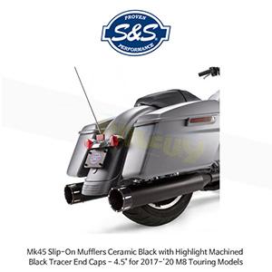 """S&S 에스엔에스 머플러 Mk45 슬립온 할리데이비슨 M8 투어링(17-20) 모델용 세라믹 블랙 하이라이트 처리된 블랙 트레이서 엔드캡 - 4.5"""""""
